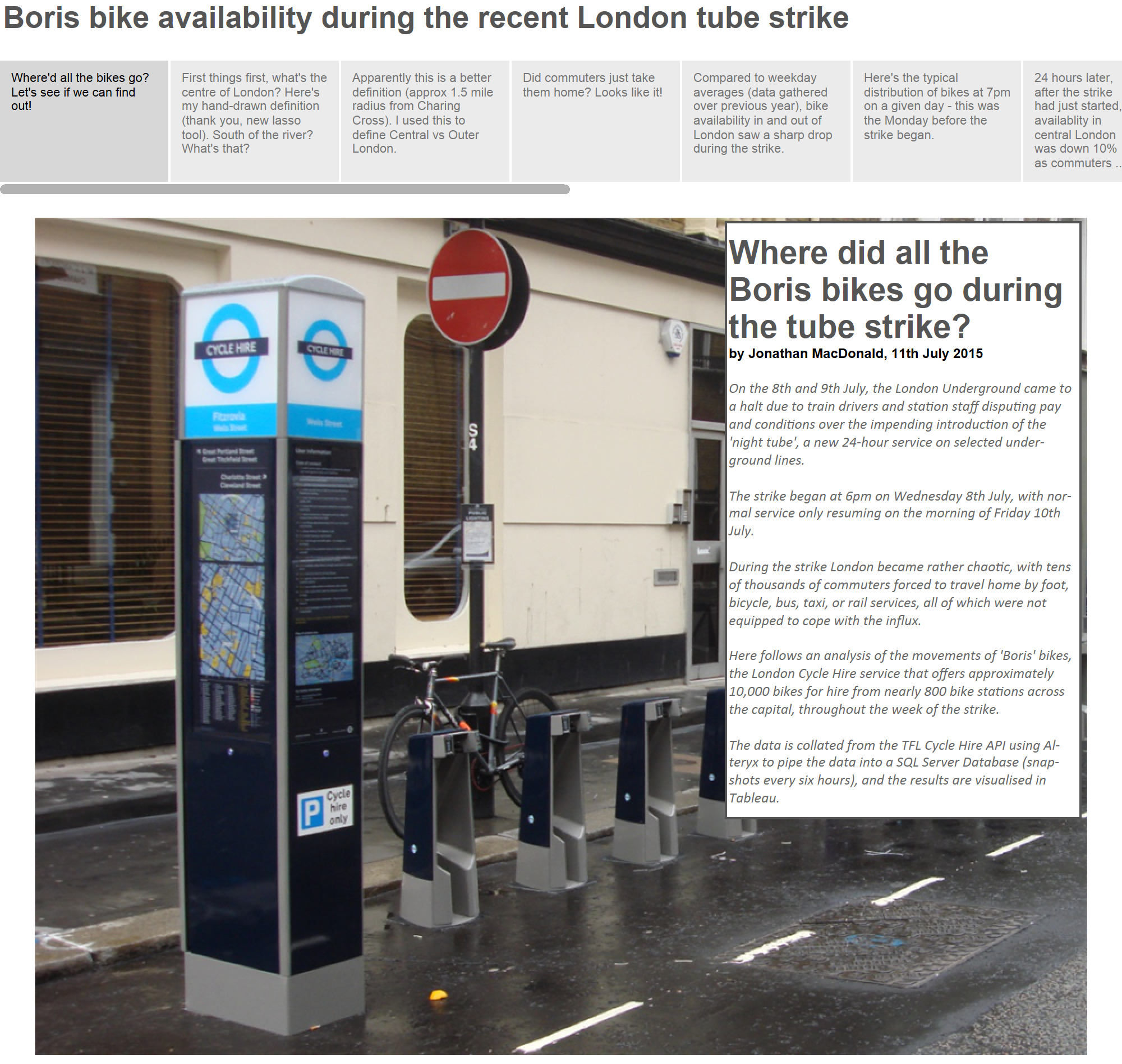 Boris bike availability during the recent London tube strike