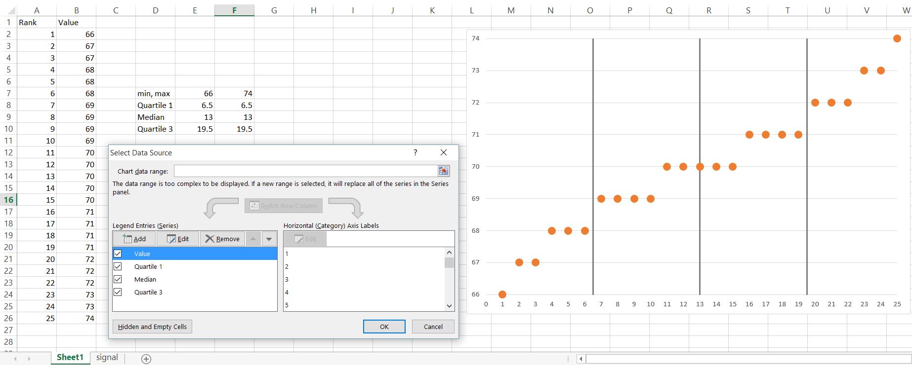Quantile Plots in Excel