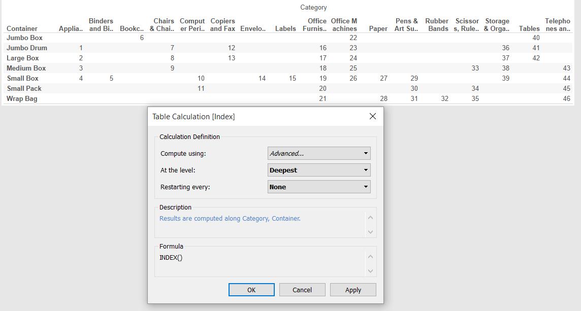 Table Calculation Advanced