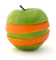 Sliced apple and orange merged together on a isolated white background.