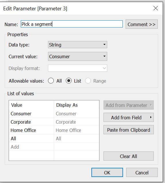 Pick a segment parameter