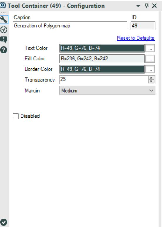 container tool settings