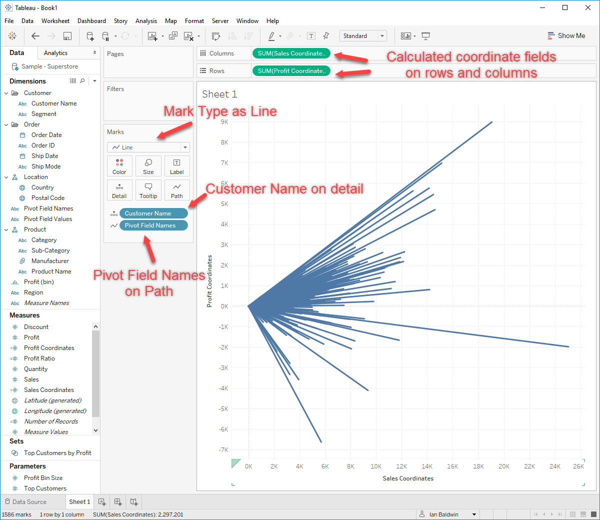 Building a Spray Chart in Tableau