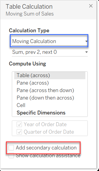 secondary table calc
