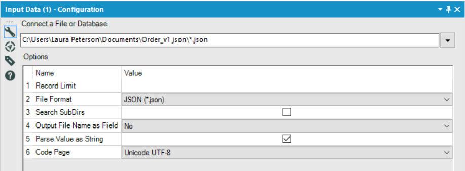 JSON Input configuration
