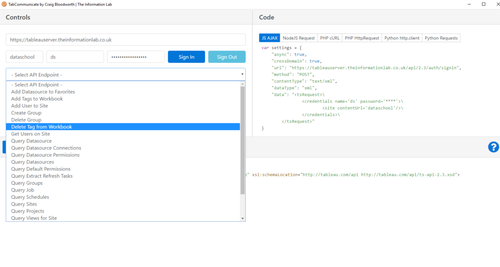 List of queries/API Endpoints available in the Control panel