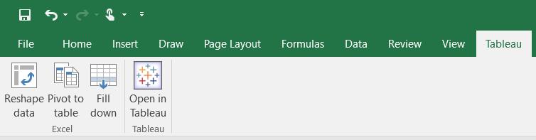 Tableau add-in window in Excel