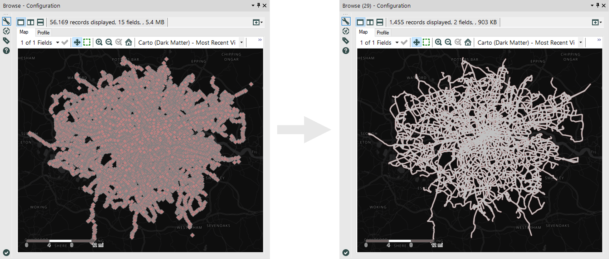 Comparison of centroids and polylines for the bus stops and bus routes respectively