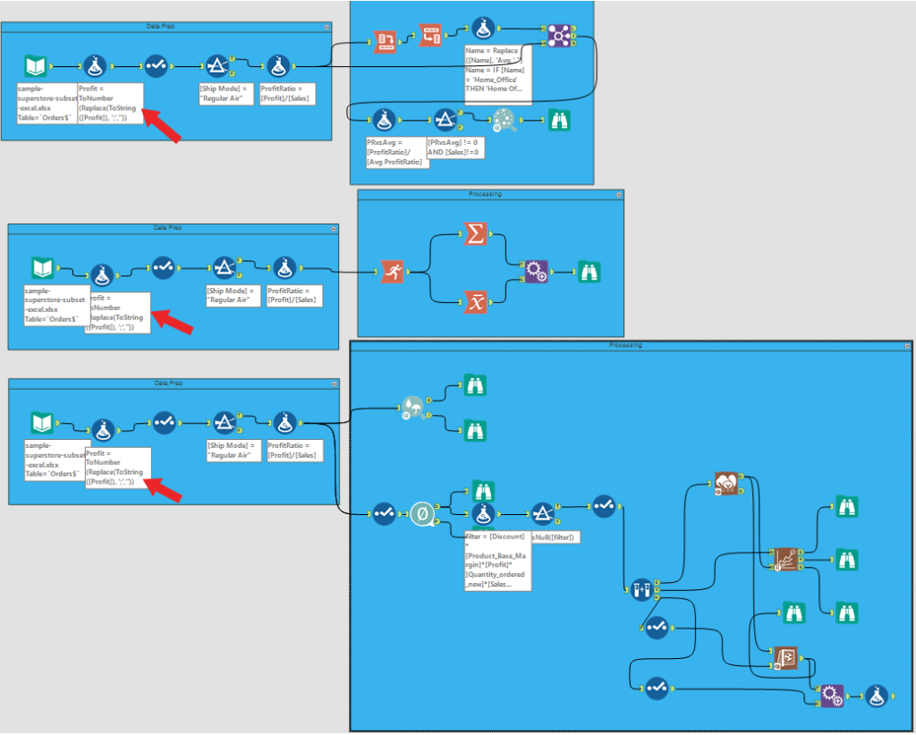 modified workflow with a single mod in the prep side