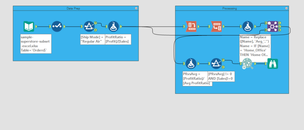 sample alteryx workflow with two sections-data prep and calculations