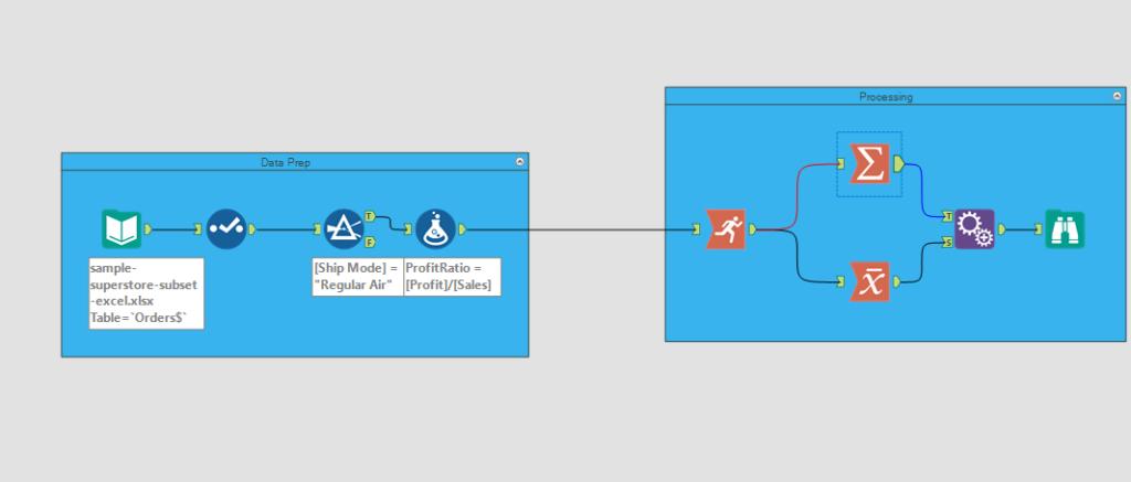 sample alteryx workflow-same data prep steps different calculations