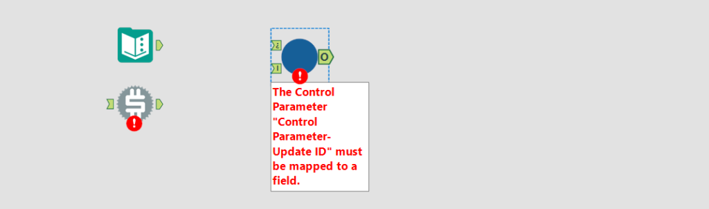 Control Parameter not mapped throws error