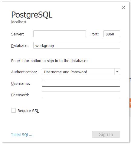 PostgresSQL login details