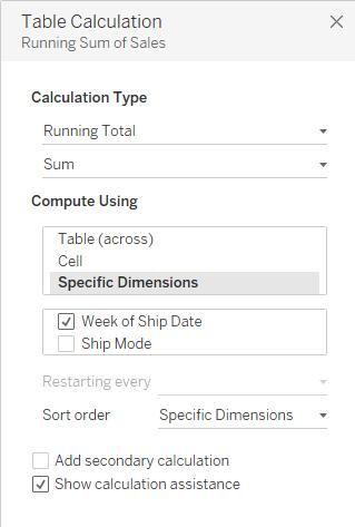 Table calculation menu
